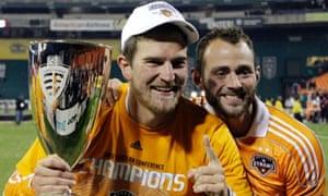 Houston Dynamo's Bobby Boswell and Brad Davis
