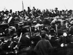 Abraham Lincoln giving the Gettysburg Address in 1863