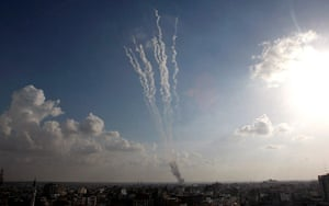 gaza conflict continues: Smoke trails from rockets fired by Palestinian militants