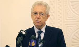 Italian Prime Minister Mario Monti speaks during a joint news conference with Qatari Premier and Foreign Minister Sheikh Hamad bin Jassim bin al-Thani (not pictured) in Doha, November 19, 2012.