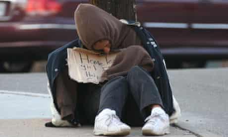 Homeless girl in winter