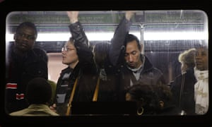 New Yorkers faced a difficult journey home last night, here passengers travel in a bus from Manhattan back to the Brooklyn borough.