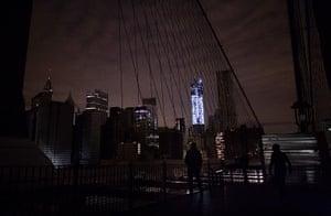 Superstorm sandy supplies: Much of lower Manhattan remains dark from the Brooklyn Bridge