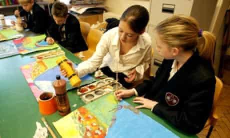 Children in an art lesson