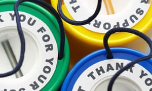 Colorful money boxes, view from above