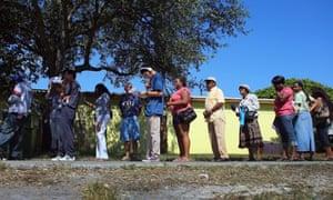 Florida voters wait to vote