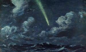 Painting of a comet over sea by Herbert Barnard John Everett