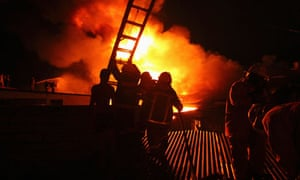 Firefighters tackle warehouse blaze