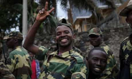 M23 rebels are seen celebrating in the streets of Goma in the east of the Democratic Republic of the Congo. Rebels in the DRC claimed control of the main town of Goma and its airport, in the mineral-rich east, as President Joseph Kabila urged people to defend the country's sovereignty.
