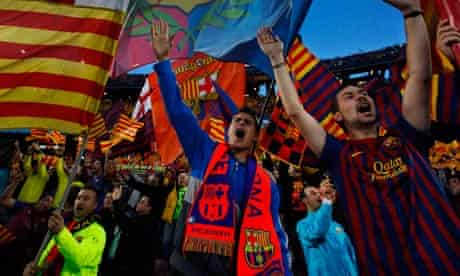 Barcelona's fans sing during a Champions League second leg semifinal