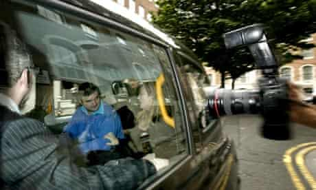 Barry George leaving court in taxi