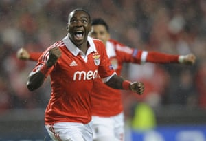 Tuesday champions league: Benfica's Ola John celebrates