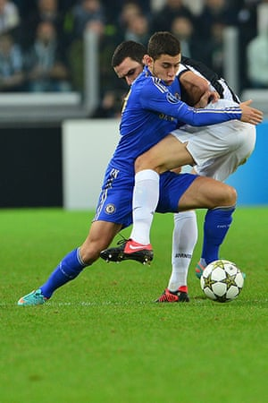 Tuesday champions league2: Chelsea's Eden Hazard fights for the ball with Juventus's Leonardo Bonucci