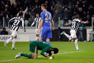 Tuesday champions league2: Juventus' Vidal celebrates after scoring against Chelsea