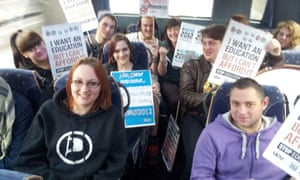 Students on their way from Kent to London to take part in a day of protests on 21 November 2012.