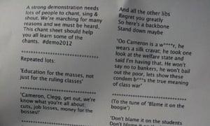 Student protest song sheet for 21 November 2012 demonstration.