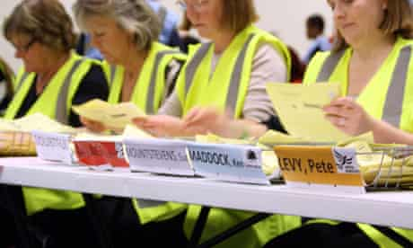 Ballot papers for the police and crime commissioner election are counted in Avon and Somerset