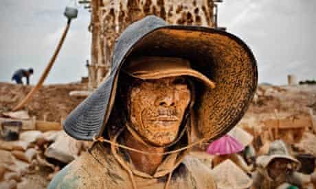 A tin miner in Bangka, Indonesia