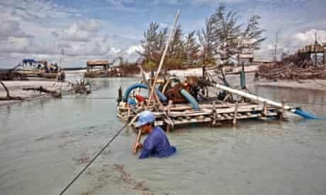 Dredging for tin ore in Bangka, Indonesia