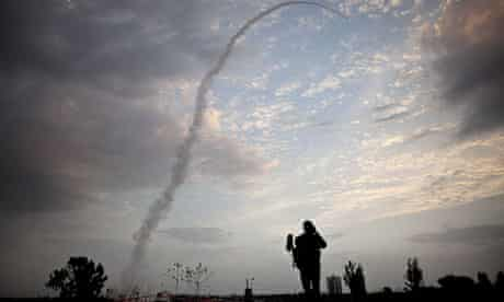 Israel's Iron Dome in Tel Aviv intercepts incoming rockets from Gaza