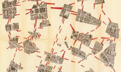 Gu Debord's fragmented map of Paris