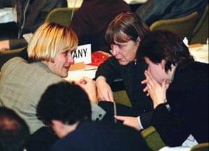 Kyoto history: Environment Miniters Dominique Voynet, left, of France, Angela Merkel