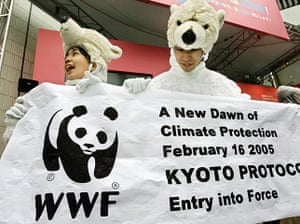 Kyoto history: Activists clad in polar bear outfits hol