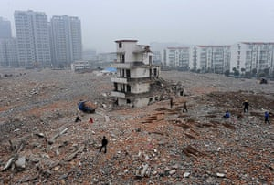 China demolition: A partially-demolished nail house in Hefei