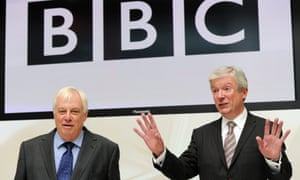 Hands-on role – Lord Patten, left, chairman of the BBC Trust, welcomes Tony Hall, the corporation's new director general.