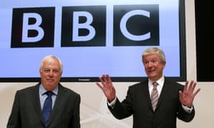 The new BBC Director General Lord Hall, right, with BBC Trust chairman Lord Patten in Broadcasting House in London.