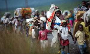 Thousands of Congolese flee the town of Sake, west of Goma, following fresh fighting in the eastern Democratic Republic of the Congo town. Fighting broke out this afternoon causing people to head east, towards Goma, and the camps for the internally displaced in the village of Mugunga.