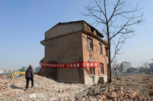 China demolition: A nail house, the last house in the area in Hefei