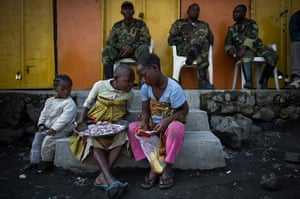 Displaced Congolese: Congolese children sit on a step in Sake