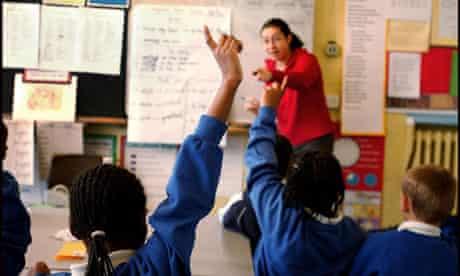 classroom teacher hands up