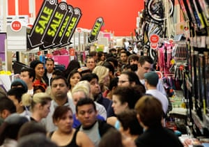 Black Friday: Burbank, California: A crowd of shoppers in Target