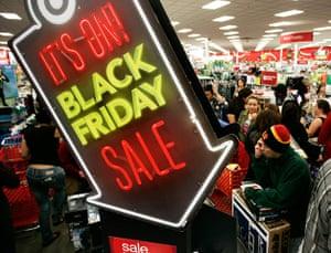 Black Friday: Burbank, California: People shop at Target on Thanksgiving Day