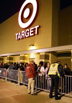 Black Friday: Highland, Indiana: Shoppers line up outside a Target on Thanksgiving night