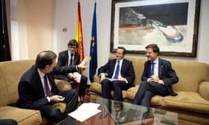 Spanish Prime Minister Mariano Rajoy (left) speaks to David Cameron and Mark Rutte. Photograph: EPA/Bernal Revert