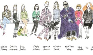 Detail from a sketch by Grace Coddington of fashion's front row.