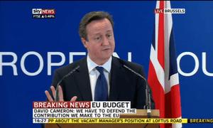 David Cameron after EU budget summit breaks up, 23 November