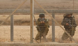 Israeli soldiers at the Gaza border