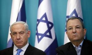 Prime Minister Benjamin Netanyahu and defence minister Ehud Barak in Jerusalem, Israel.