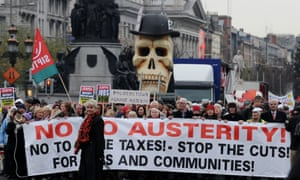 Protestors march against Government austerity measures in Dublin, Ireland