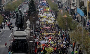 Trade union members march through Dublin City Centre in opposition to Austerity.