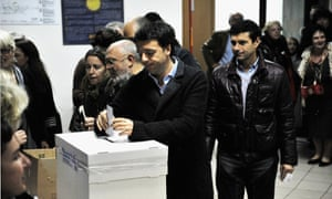 Mayor of Florence Matteo Renzi casts his vote in the PD Primary Elections on November 25, 2012 in Florence, Italy.