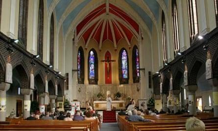 Church interior during a wedding service