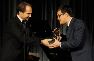 Evening Standard Awards : Nick Payne (R) accepts the award for Best Play