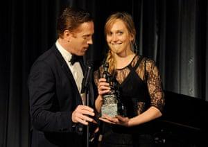 Evening Standard Awards : Hattie Morahan (R) accepts the Natasha Richardson award for Best Actress