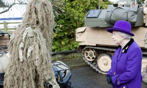 The Queen then spoke with a sniper in full disguise.
