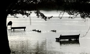 Park land is left flooded as the River Great Ouse breaks its banks in Huntingdon, Cambridgeshire.